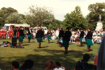 At Wythenshawe Park in the 80s, with the Fianna Phádraig Dancers, performing at the foot of Cromwell's statue.