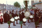 On Oatlands Road, Woodhouse Park in the 70s. Our dear friend Chris Hyland, sadly missed by all his colleagues in the Band, can be seen on the other side of the bass drum.