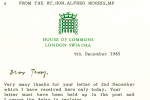Letter from Alf Morris MP.